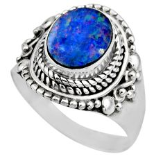 3.22cts natural doublet opal australian 925 silver solitaire ring size 8 r53334