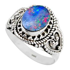 3.62cts natural doublet opal australian 925 silver solitaire ring size 8 r53438