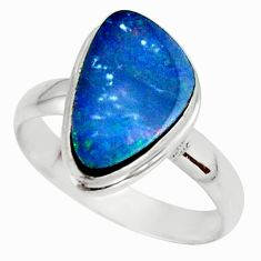 4.84cts natural doublet opal australian 925 silver solitaire ring size 9 r39248