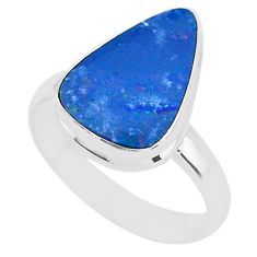5.10cts natural doublet opal australian 925 silver solitaire ring size 8.5 t4223
