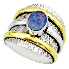 1.92cts natural doublet opal australian 925 silver two tone ring size 6.5 r22178