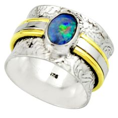 2.00cts natural doublet opal australian 925 silver two tone ring size 7 r22176