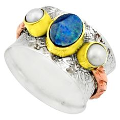 3.13cts natural doublet opal australian 925 silver two tone ring size 8 r22181