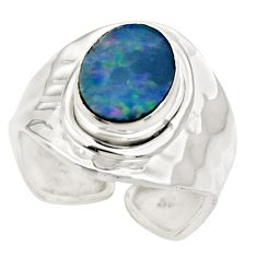 3.50cts natural doublet opal australian silver adjustable ring size 6.5 r49725