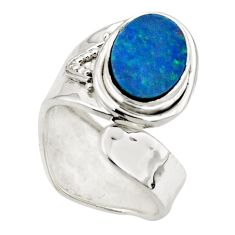3.22cts natural doublet opal australian silver adjustable ring size 5.5 r49729