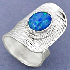 3.22cts natural doublet opal australian silver adjustable ring size 6.5 r63277