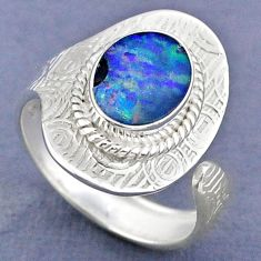 3.51cts natural doublet opal australian silver adjustable ring size 8.5 r63318
