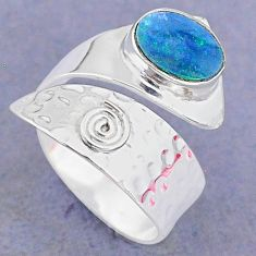 2.33cts natural doublet opal australian silver adjustable ring size 8.5 t8695