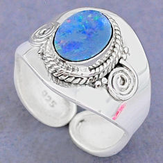 2.17cts natural doublet opal australian silver adjustable ring size 7.5 t8696