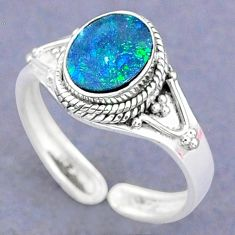 2.10cts natural doublet opal australian silver adjustable ring size 8.5 t8698