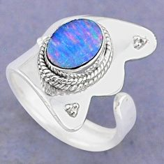 2.05cts natural doublet opal australian silver adjustable ring size 7.5 t8699