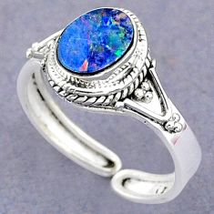 2.12cts natural doublet opal australian silver adjustable ring size 8.5 t8717