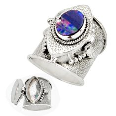 3.86cts natural doublet opal australian silver poison box ring size 7.5 r41220