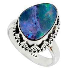 5.80cts natural doublet opal australian silver solitaire ring size 7.5 r22711