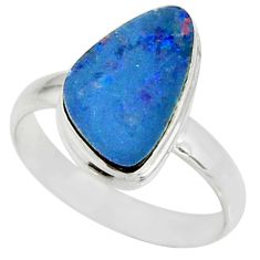 5.36cts natural doublet opal australian silver solitaire ring size 9.5 r39241