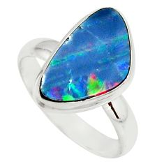 5.36cts natural doublet opal australian silver solitaire ring size 8.5 r39253