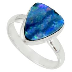 5.36cts natural doublet opal australian silver solitaire ring size 9.5 r39255
