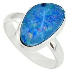 4.69cts natural doublet opal australian silver solitaire ring size 8.5 r39266