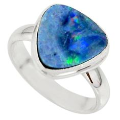 4.69cts natural doublet opal australian silver solitaire ring size 6.5 r39273