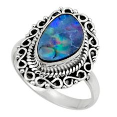 3.89cts natural doublet opal australian silver solitaire ring size 8.5 r47302
