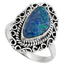 3.83cts natural doublet opal australian silver solitaire ring size 7.5 r47310