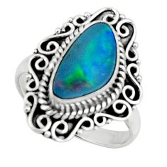 3.97cts natural doublet opal australian silver solitaire ring size 7.5 r47320