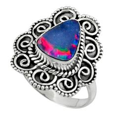 3.70cts natural doublet opal australian silver solitaire ring size 7.5 r47321