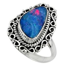3.75cts natural doublet opal australian silver solitaire ring size 7.5 r47330