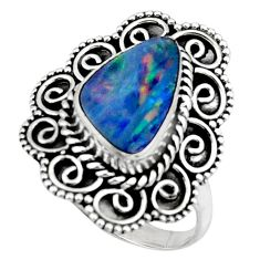 3.77cts natural doublet opal australian silver solitaire ring size 8.5 r47350