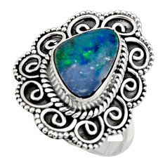 3.72cts natural doublet opal australian silver solitaire ring size 7.5 r47357
