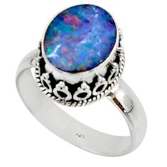 4.35cts natural doublet opal australian silver solitaire ring size 8.5 r48402