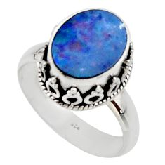 4.02cts natural doublet opal australian silver solitaire ring size 7.5 r48416