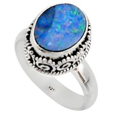 4.22cts natural doublet opal australian silver solitaire ring size 7.5 r48417