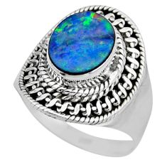 3.50cts natural doublet opal australian silver solitaire ring size 6.5 r53321