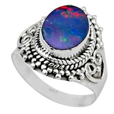 3.22cts natural doublet opal australian silver solitaire ring size 6.5 r53322