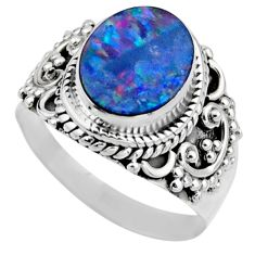 3.12cts natural doublet opal australian silver solitaire ring size 6.5 r53323