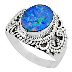 3.13cts natural doublet opal australian silver solitaire ring size 6.5 r53325