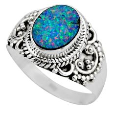 3.50cts natural doublet opal australian silver solitaire ring size 8.5 r53327