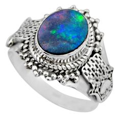 3.42cts natural doublet opal australian silver solitaire ring size 7.5 r53328