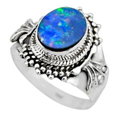 3.41cts natural doublet opal australian silver solitaire ring size 7.5 r53329