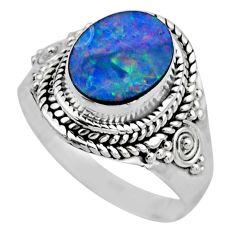 3.32cts natural doublet opal australian silver solitaire ring size 7.5 r53330