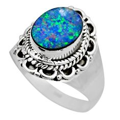 3.26cts natural doublet opal australian silver solitaire ring size 7.5 r53333