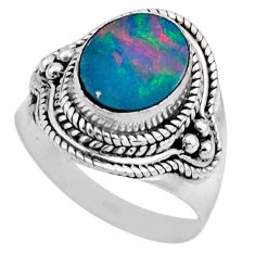 3.50cts natural doublet opal australian silver solitaire ring size 6.5 r53335