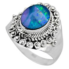 3.40cts natural doublet opal australian silver solitaire ring size 7.5 r53336