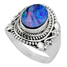 3.58cts natural doublet opal australian silver solitaire ring size 8.5 r53337