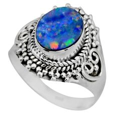 3.22cts natural doublet opal australian silver solitaire ring size 7.5 r53338