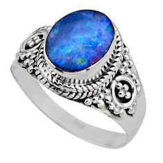 3.12cts natural doublet opal australian silver solitaire ring size 7.5 r53339