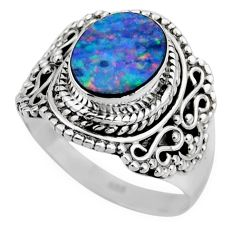 3.58cts natural doublet opal australian silver solitaire ring size 7.5 r53340