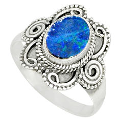 2.42cts natural doublet opal australian silver solitaire ring size 8.5 r77441