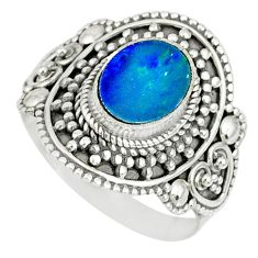 2.56cts natural doublet opal australian silver solitaire ring size 8.5 r77453